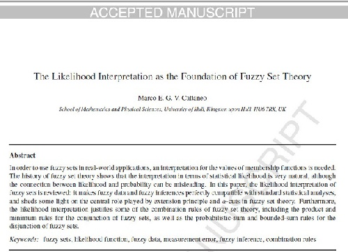 ترجمه مقاله انگلیسی : The Likelihood Interpretation as the Foundation of Fuzzy Set Theory