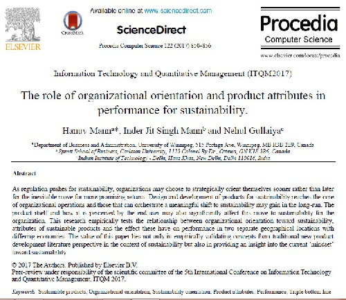ترجمه مقاله انگلیسی : The role of organizational orientation and product attributes in performance for sustainability