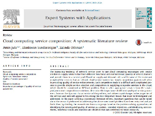 ترجمه مقاله انگلیسی : Cloud computing service composition: A systematic literature review
