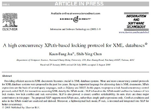 ترجمه مقاله انگلیسی: A high concurrency XPath-based locking protocol for XML databases