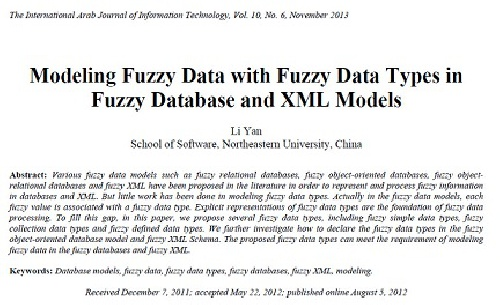 ترجمه مقاله انگلیسی:  Modeling Fuzzy Data with Fuzzy Data Types in Fuzzy Database and XML Modelsn