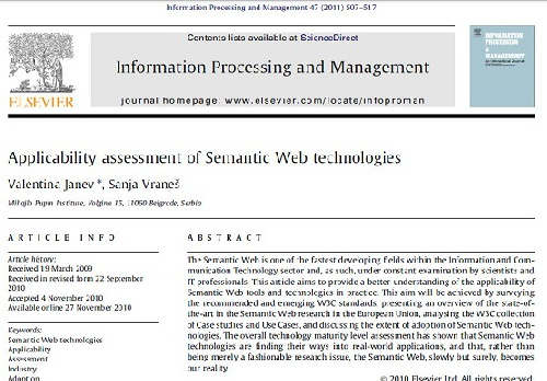 ترجمه مقاله انگلیسی : Applicability assessment of Semantic Web technologies