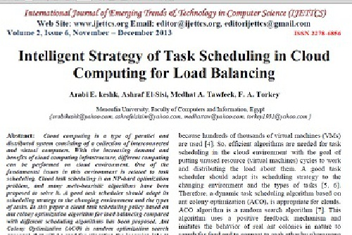 ترجمه مقاله انگلیسی : Intelligent Strategy of Task Scheduling in Cloud Computing for Load Balancing