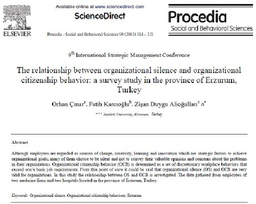 ترجمه مقاله انگلیسی : The relationship between organizational silence and organizational citizenship behavior